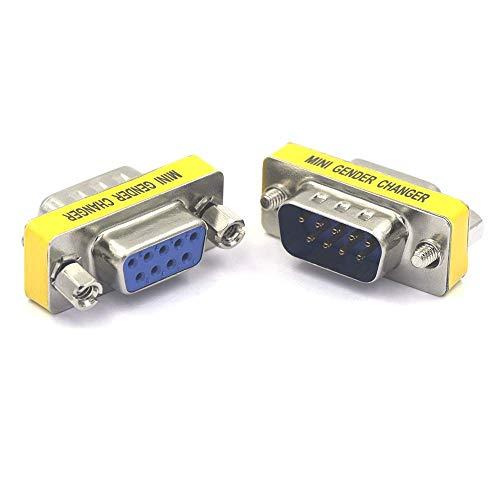 VCE 2 Stück DB 9 Pin Stecker auf Buchse Mini Gender Changer Adapter Stecker -