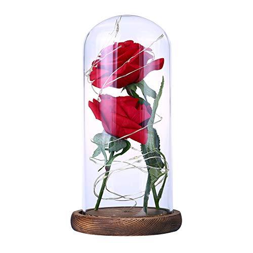 (heDIANz Romantic Rose LED Glasflasche Lampe Nachtlicht Home Decor Valentinstag Geschenk)