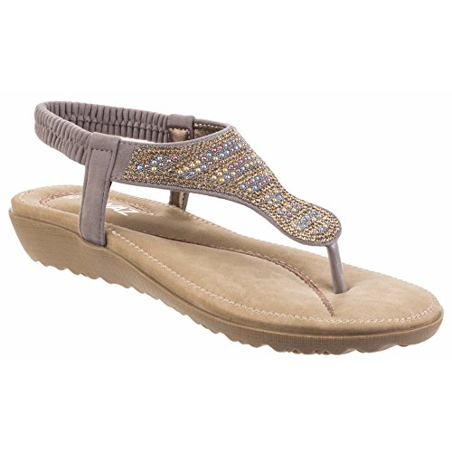 Divaz Damen Perry Diamanten T-Bar Sandale Rot
