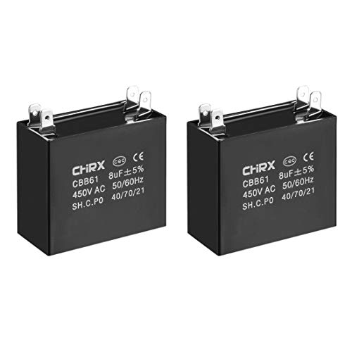 sourcing map CBB61 Kondensator 450 V AC 8 uF Doppeleinsatz metallisierte Polypropylen-Folie Kondensatoren für Deckenventilator, 2 Stück -