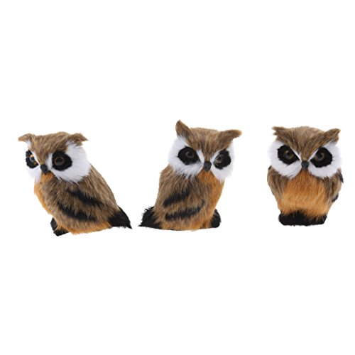 FLAMEER 3pcs Artificielle Plume Hibou Ornement De Noël Décor Décoration Simulation