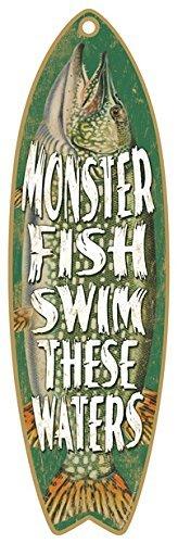 Holz Sommer Surfboard Schild 12,7x 40,6cm Monster Fish