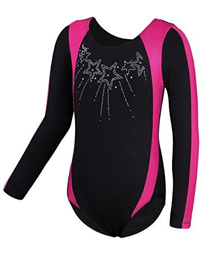 HUAANIUE Mädchen Gymnastikanzug Turnanzug Trikot Gymnastikbody Turnbody Sportbekleidung Lange Ärmel 8A (Heiße Gymnastikanzug Mädchen)