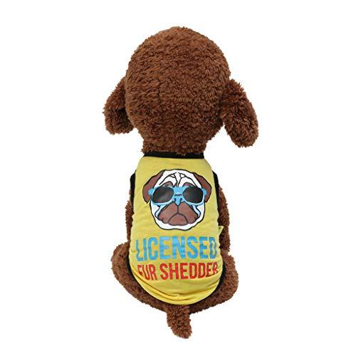 SOMESUN Pet Kleidung Sommer Dünnschliff Mode Haustier Sonnenbrille Hundedruck Weste Bequem Wild Geeignet Für Kleine Und Mittlere Hunde Und Katzen Haustier Kleidung
