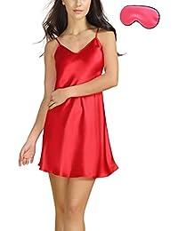 Bel Avril Ropa de Dormir para Mujer, Lencería Satén Camisón Pijama Ropa de Dormir simple