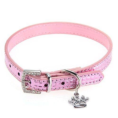 TOOGOO(R) Hund Haustier Welpe Halsband PU-Leder verstellbar Krone Charme Anhaenger rosa XS [Misc.]