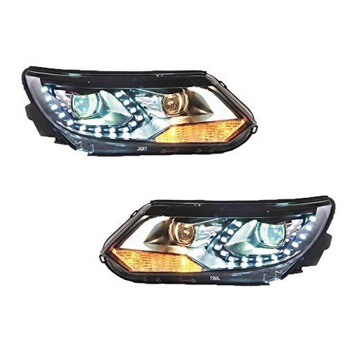 Scheinwerfer-Set für Tiguan 2013-2015 Bi-Xenon-Projektor, Doppellicht-Xenon-HID-Kit, mit LED-Tagfahrlichtern, 2 Stück
