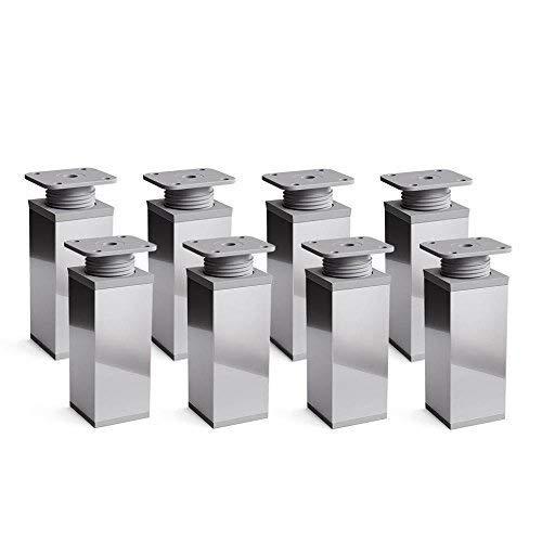 Design-Möbelfüße Doppelpack, 2 x 4er Set (8 Stück) höhenverstellbar | Vierkant-Profil: 40 x 40 mm | Sossai® MFV1-CH | Farbe: Chrom | Höhe: 120mm (+20mm) | Material: Aluminium/Kunststoff
