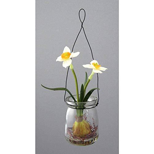 Kunstblumen Narzisse im HÄNGEGLAS. Ca 15 cm. Nazissen im Runden Glas in WEISS-GELB-34