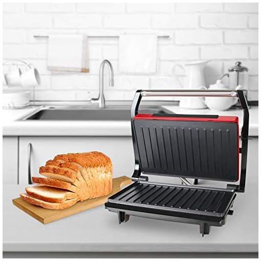 Grill da Tavolo Elettrico Piastre antiaderent Griglia elettrica OZAVO Panini Maker//Griglia 750 Watt,Grill a Contatto 2 in 1 Tostiera,Pressa a sandwich Tostapane