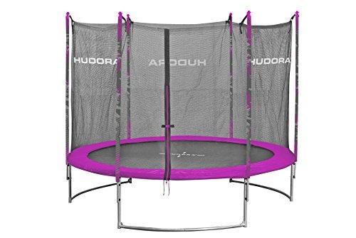 HUDORA Family Trampolin/Gartentrampolin, mit Sicherheitsnetz, pink, 400 cm, 65645