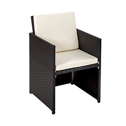 Tectake set di mobili da giardino poli rattan alluminio for Mobili di design in rattan