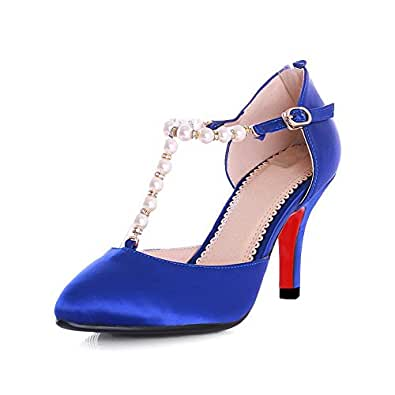 AgooLar Women's Silk Solid Buckle Pointed Closed Toe Spikes Stilettos Pumps Shoes, Blue, 39