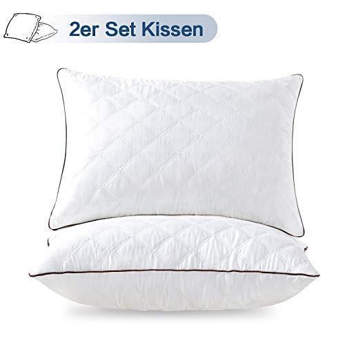 LAVISUN 2er Set Kopfkissen - atmungsaktive Kissen geeignet für Allergiker, Seitenschläfer, Bauchschläfer- 1200g MicrofaserFüllgewicht, 60x80 cm