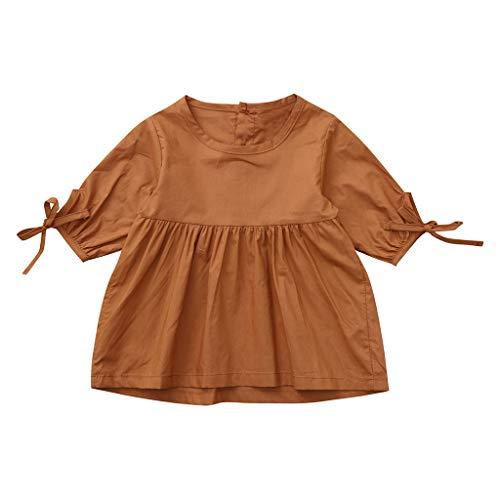 Staresen Mädchen Sommerkleid Mädchen Tüllrock Strandkleider Baby Partykleider Lose Cocktailkleid Abenkleid Dreiviertel Ärmelkleid für Kinder Einfarbiger Bogenrock
