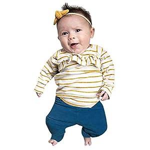 Heetey - Conjunto de Ropa y Abrigo para niña, Camiseta de Manga Larga con Volantes, Estampado a Rayas + Pantalones Estampados 2