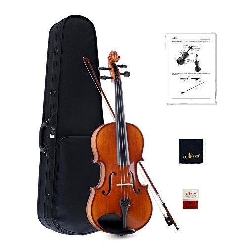 Aileen 4/4 Violino per Studenti o Adulti Principianti Legno Massiccio Lucido Fatto a Mano Dimensione Piena Set di Violino