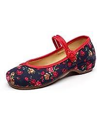 Lazutom Mujer chino estilo Vintage bordado Casual zapatos Flats Mary Janes, color, talla 39 EU