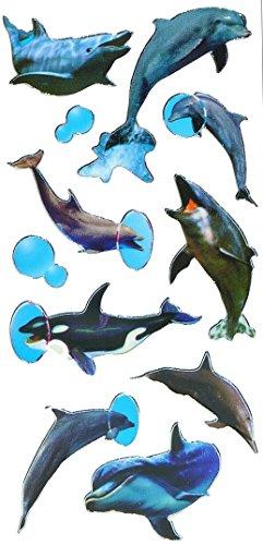 10-tlg-Set-Sticker-Aufkleber-Delfin-Wal-Fische-und-Seepferdchen-selbstklebend-fr-Mdchen-Jungen-Stickerset-Kinder-zB-fr-Stickeralbum-Fisch-Unterwasser-Delphin