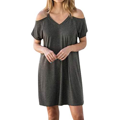 er Einfarbig Sling Schulter Casual Dress für Frauen Bequeme Kleider Beiläufiges Oberteile(grau,L3) ()
