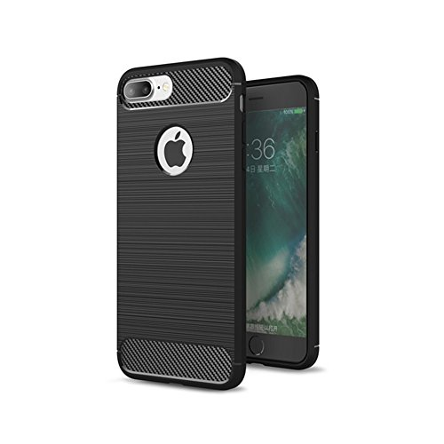 iPhone 8 Plus Hülle TPU Case, AVIDET Ultra Slim TPU Case für iPhone 8 Plus Schutzhülle (Blau) Schwarz
