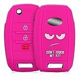 kwmobile Autoschlüssel Hülle für Kia - Silikon Schutzhülle Schlüsselhülle Cover für Kia 3-4-Tasten Autoschlüssel Weiß Pink