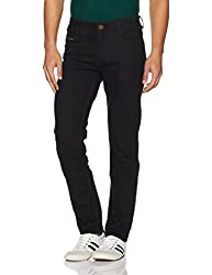 John Players Mens Slim Fit Jeans (8907349038010_ZCMWJNCOR7005002_32W x 34L_Jet Black)