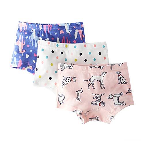 Allmeingeld Mädchen Unterhose, Animalprint Gr. 5-7 Jahre, Unicorn/Polka Dot/Puppy 3 Pack