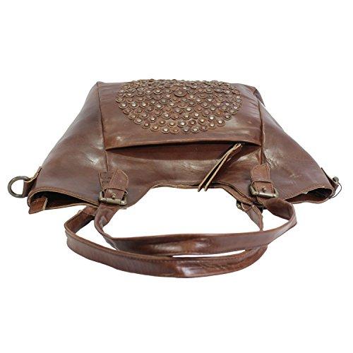 0e134fd26cbc1 ... Leder Schultertaschen Damen Taschen- 100% Leder Damentasche Handtasche  Schultertasche Umhängetasche Cognac