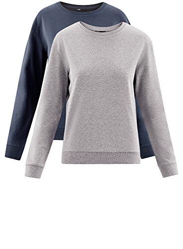 oodji Ultra Damen Baumwoll-Sweatshirt (2er-Pack) Mehrfarbig (19J1N)