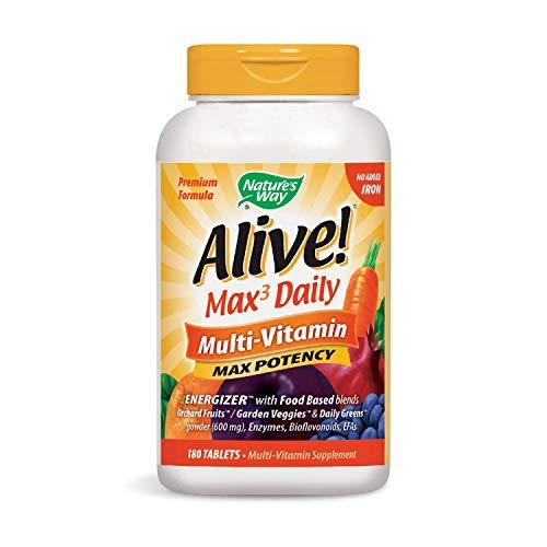 Nature 's Way Alive. Premium-Formel Max3Tägliche Multivitamin, kein Eisen hinzugefügt, 180Tabletten - Gurke Pflaumen