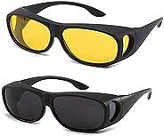 2 PCS Night Vision Driver Goggles Unisex HD Vision Sun Glasses Car Driving Glasses UV Protection Polarized Sun
