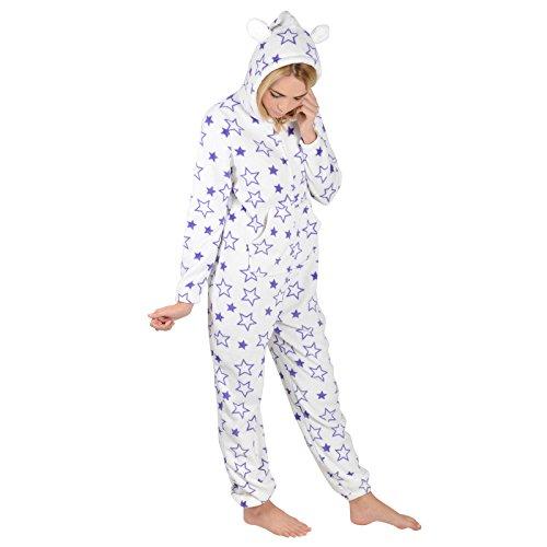 Lila Sterne - Damen Fleece Schlafanzug