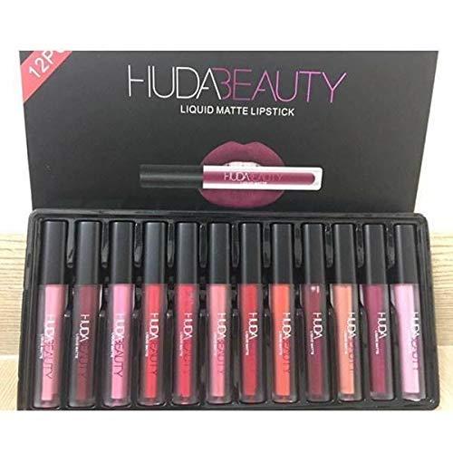 DeE-Store Huda Beauty Liquid Matte Lipstick Lip Care - 12 Pcs Valentine Special (1 box, 12 Pcs, Multi-Color)