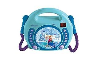 LEXIBOOK- Disney Frozen-Lector CD Portátil con 2 Micros, Altavoz Karaoke a Partir de 3 años RCDK100FZ, Color Azul (