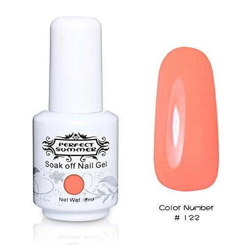 Perfect Summer 1pcs 8ml Vernis à Ongles Semi-Permanent Soak Off UV LED Série de Couleur Fluorescent #122 Corail Malin