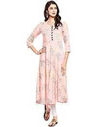 [Sponsored]Tissu Rayon Floral Printed Flared Kurta With Front Buttons