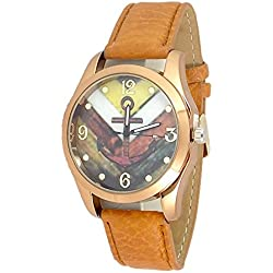 Anchor Watch Sailor Tan Band Strap Fashion Nautical Stripe Analog Quartz Unisex