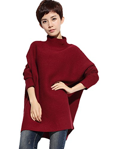 Vogstyle Damen 2016 Herbst/Winter New Piles Kragen Rib Knit Pullover Style 4 Rot (Pullover Knit Rib)