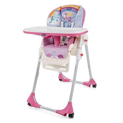 Chicco Polly Easy - Trona amplia, compacta y sencilla, 4 ruedas, para niños de 0 a 3 años, color rosa (Unicorn)