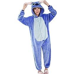 WRH Franela una pieza pijama azul de dibujos animados LILO y puntada cosplay animal invierno coral espesados pijamas para hombre y mujer ropa , l