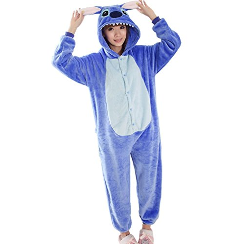 WRH Flanell einteilige Pyjama blau Cartoon LILO und Stitch Tier Cosplay winter Korallen verdickte Schlafanzüge für Männer und Frauen Kleidung, m (Lilo Kostüm Frauen)