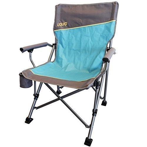 LUXUS Komfort Faltstuhl mit Getränkehalter + Flaschenöffner am Stuhl | Stabile Ausführung bis 120kg | Extra breite Füße für weichen Boden | Breite Sitzfläche 51cm | Rückenlehne 92cm | Uquip Roxy 244002