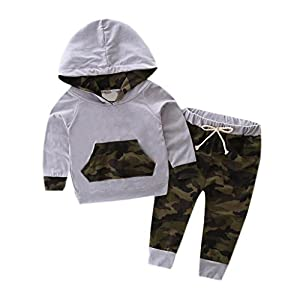 Hirolan Kleinkind Baby Junge Kleider Mit Kapuze Trainingsanzug Top + Hosen Tarnung Outfits