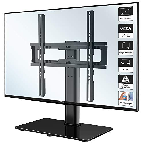 1home Fernsehtisch Tischständer Standfuss TV Ständer LCD/LED/Plasma TVs Schwenkbar Höhenverstellbar für 26-50 Zoll, Max.VESA 400x400, inklusive kostenlosem Reinigungsset