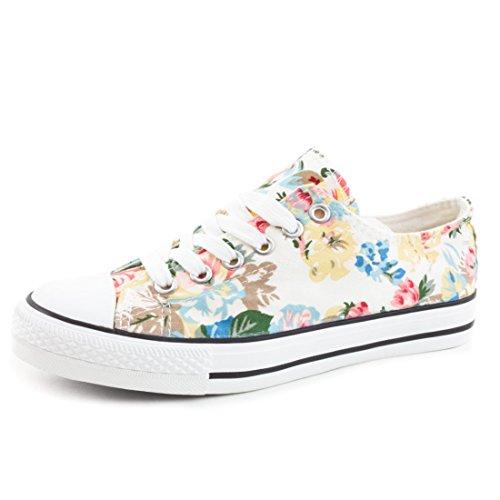 Herren Schnür Damen Sneaker Flora Low Unisex Weiß Canvas Top Schuhe Kinder Trendige Textil wTf4n