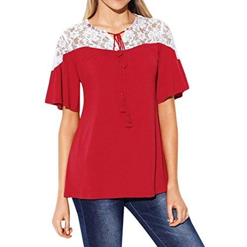 Maglietta da donna,sonnena t-shirt da donna con collo rotondo e maniche corte in pizzo vestito casual top in pizzo da donna maglietta a maniche corte camicie donna (m, rosso)