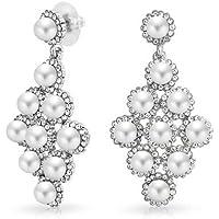 Bling Jewelry Art Deco 6 millimetri Cluster goccia della perla nuziale lampadario orecchini