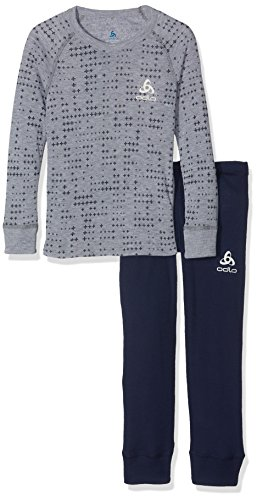 Odlo Kinder Set WARM Kids Shirt l/s Pants Long Skiunterwäsche, Peacoat - Grey Melange, 116