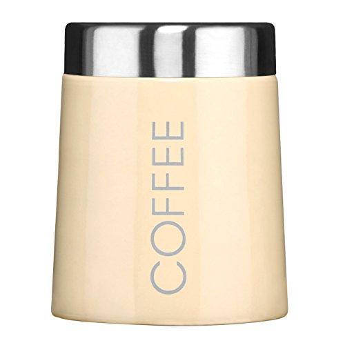 Premier Housewares Konische Kaffeedose, cremefarbene Emaille, edelsthal, rahm, 11x11x13